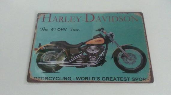 HARLEY DAVIDSON (TWIN)  Distressed Retro Vintage Tin Sign