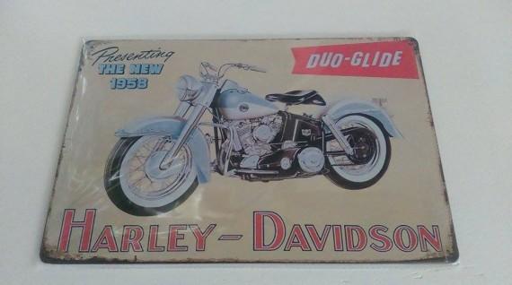 HARLEY DAVIDSON (DUO-GLIDE)  Distressed Retro Vintage Tin Sign