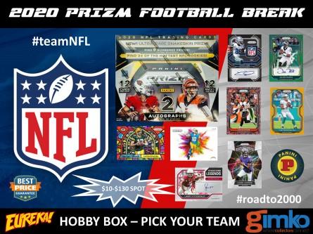 #1326 NFL FOOTBALL 2020 PRIZM HOBBY BOX PYT BREAK