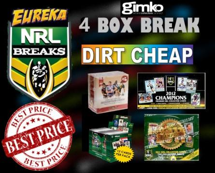 #1255 EUREKA SPORTS CARDS NRL DIRT CHEAP BREAK