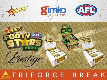 #1447 AFL FOOTBALL 2021 FOOTY STARS PRESTIGE TRIFORCE BREAK