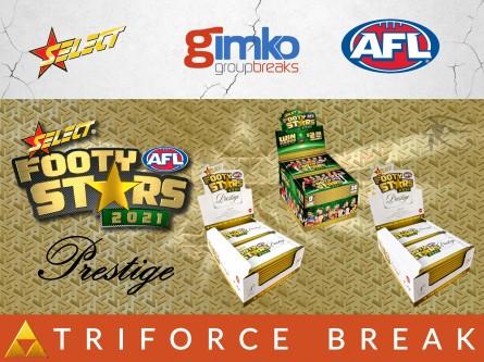 #1481 AFL FOOTBALL 2021 FOOTY STARS PRESTIGE TRIFORCE BREAK