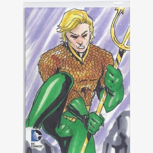 DC EPIC BATTLES SKETCH CARD AQUAMAN 1/1 HAND DRAWN ARTIST JOHNSTON