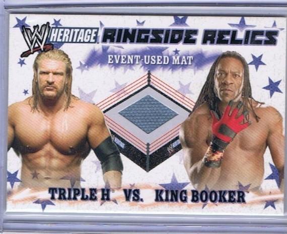 WWE / WWF HERITAGE RINGSIDE RELICS TRIPLE H VS KING BOOKER EVENT USED MAT CARD - SUMMERSLAM 07